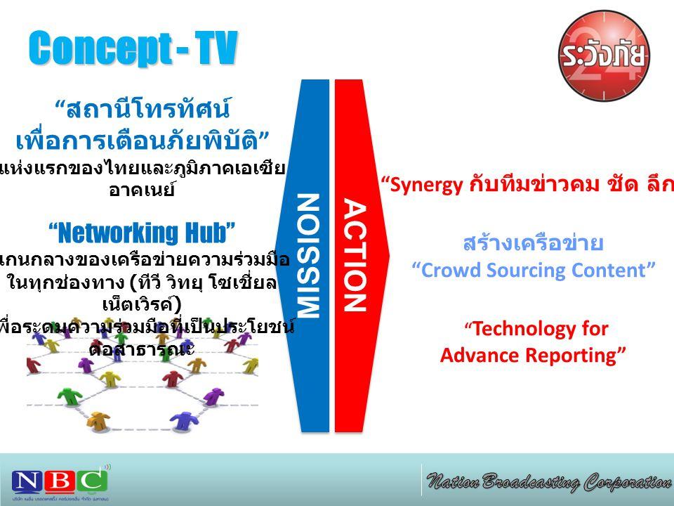 "Concept - TV ACTION MISSION "" สถานีโทรทัศน์ เพื่อการเตือนภัยพิบัติ "" แห่งแรกของไทยและภูมิภาคเอเซีย อาคเนย์ ""Networking Hub"" แกนกลางของเครือข่ายความร่ว"
