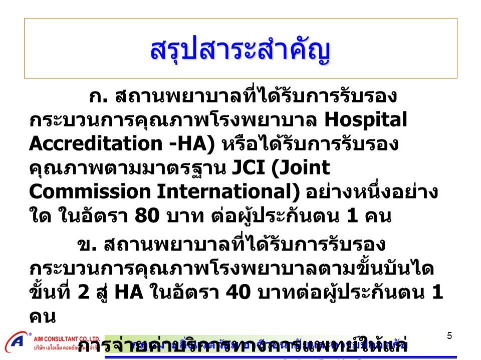 กฎหมายสิ่งแวดล้อม อาชีวอนามัยและความปลอดภัย 5 ก. สถานพยาบาลที่ได้รับการรับรอง กระบวนการคุณภาพโรงพยาบาล Hospital Accreditation -HA) หรือได้รับการรับรอง