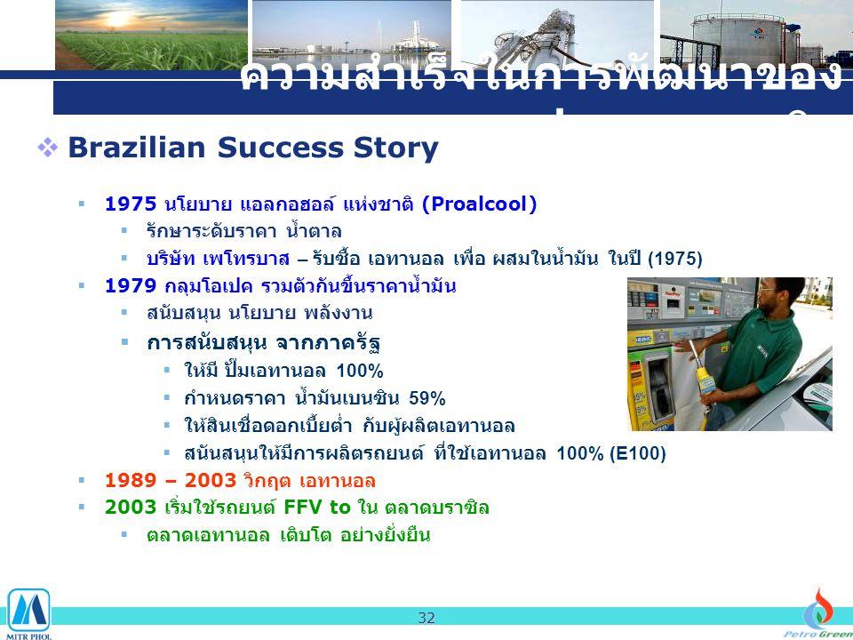 ความสำเร็จในการพัฒนาของ ประเทศบราซิล  Brazilian Success Story  1975 นโยบาย แอลกอฮอล์ แห่งชาติ (Proalcool)  รักษาระดับราคา น้ำตาล  บริษัท เพโทรบาส – รับซื้อ เอทานอล เพื่อ ผสมในน้ำมัน ในปี (1975)  1979 กลุมโอเปค รวมตัวกันขึ้นราคาน้ำมัน  สนับสนุน นโยบาย พลังงาน  การสนับสนุน จากภาครัฐ  ให้มี ปั๊มเอทานอล 100%  กำหนดราคา น้ำมันเบนซิน 59%  ให้สินเชื่อดอกเบี้ยต่ำ กับผู้ผลิตเอทานอล  สนันสนุนให้มีการผลิตรถยนต์ ที่ใช้เอทานอล 100% (E100)  1989 – 2003 วิกฤต เอทานอล  2003 เริ่มใช้รถยนต์ FFV to ใน ตลาดบราซิล  ตลาดเอทานอล เติบโต อย่างยั่งยืน 32