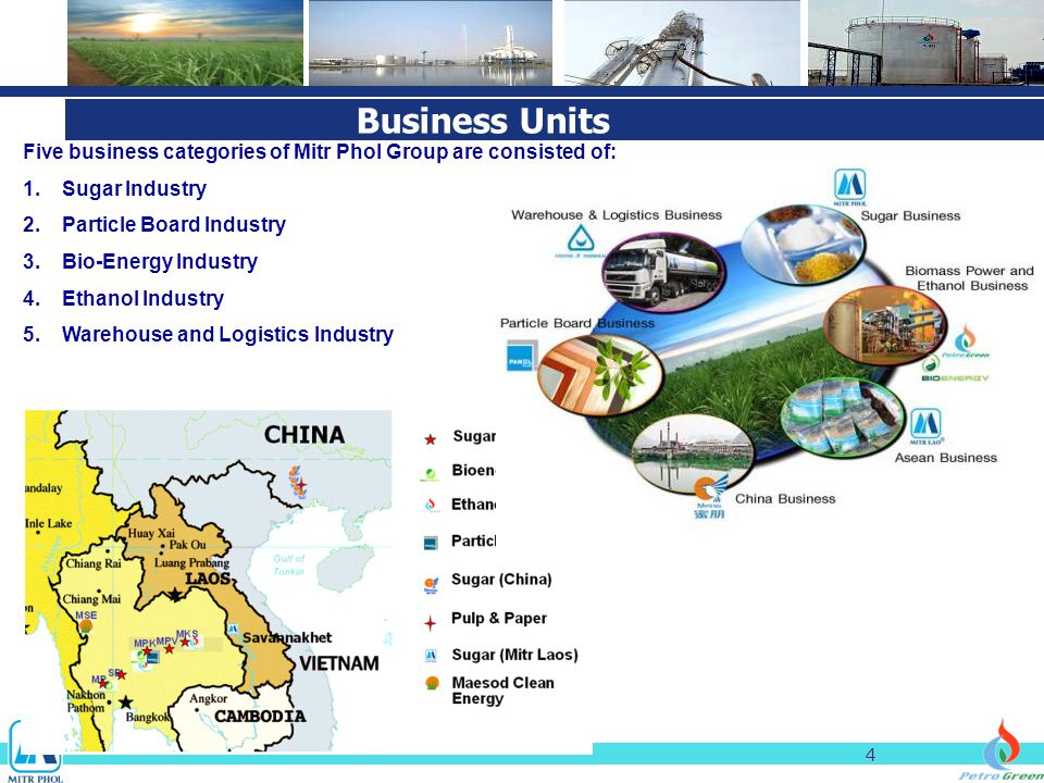 4 Five business categories of Mitr Phol Group are consisted of: 1.Sugar Industry 2.Particle Board Industry 3.Bio-Energy Industry 4.Ethanol Industry 5.Warehouse and Logistics Industry Business Units