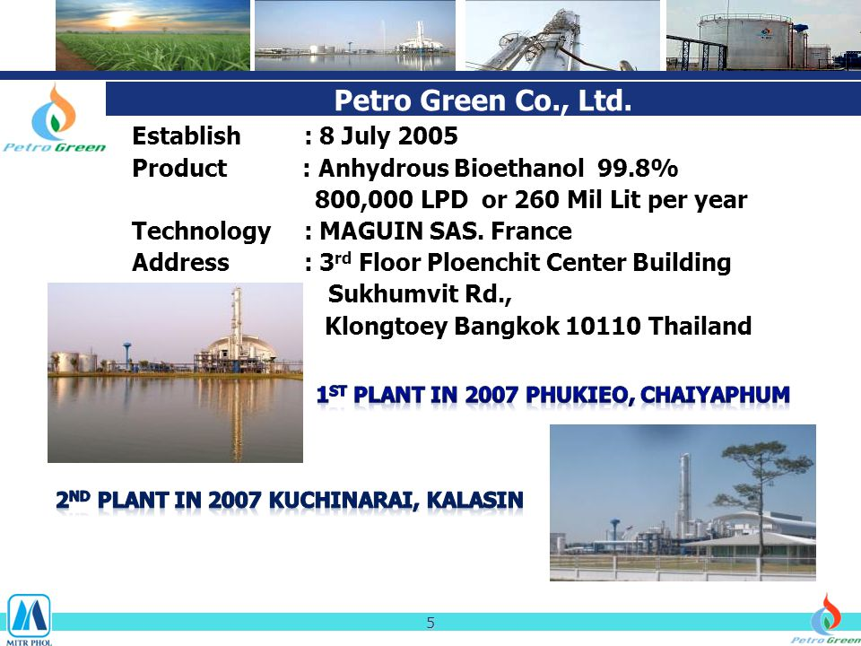 Petro Green Co., Ltd. Establish: 8 July 2005 Product : Anhydrous Bioethanol 99.8% 800,000 LPD or 260 Mil Lit per year Technology: MAGUIN SAS. France A