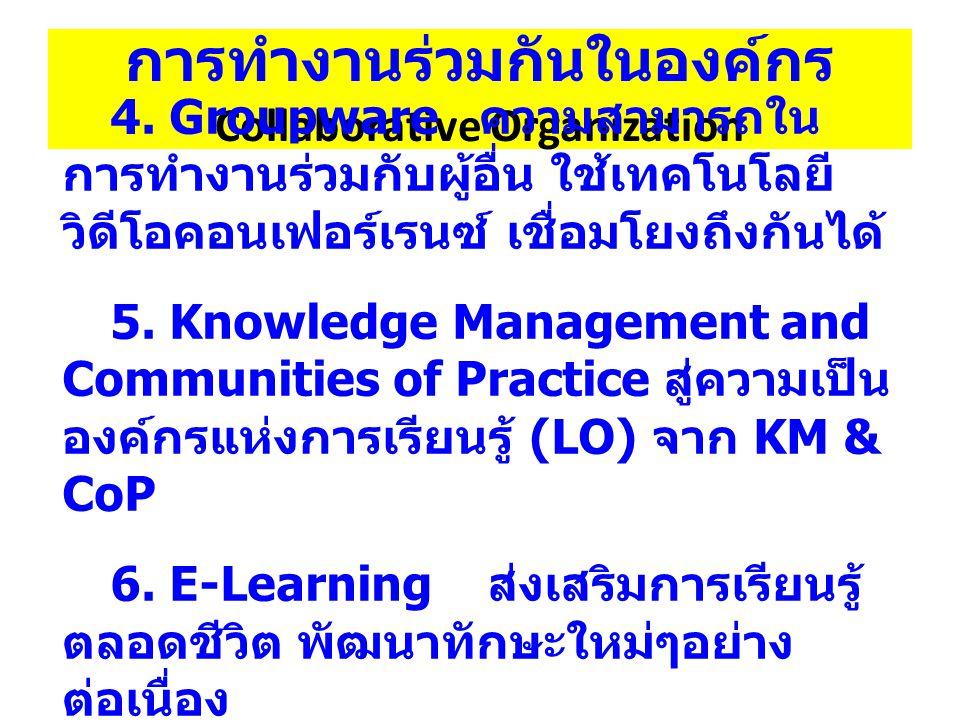 การทำงานร่วมกันในองค์กร Collaborative Organization 4.