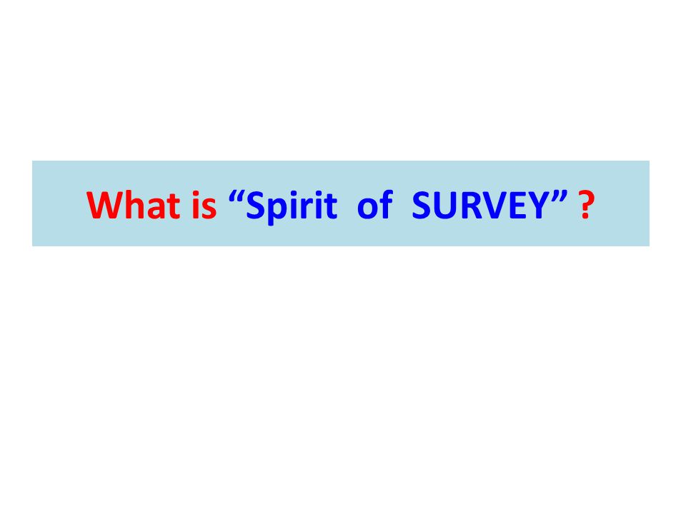 "What is ""Spirit of SURVEY"" ?"