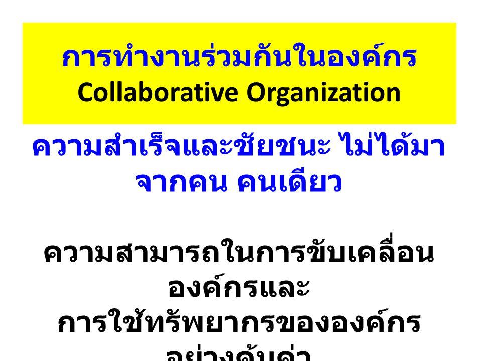 การทำงานร่วมกันในองค์กร Collaborative Organization ความสำเร็จและชัยชนะ ไม่ได้มา จากคน คนเดียว ความสามารถในการขับเคลื่อน องค์กรและ การใช้ทรัพยากรขององค์กร อย่างคุ้มค่า ขึ้นอยู่กับความสามารถในการ ทำงานร่วมกัน