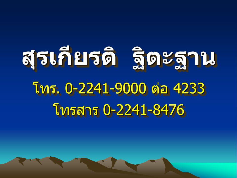 สุรเกียรติ ฐิตะฐาน โทร. 0-2241-9000 ต่อ 4233 โทรสาร 0-2241-8476