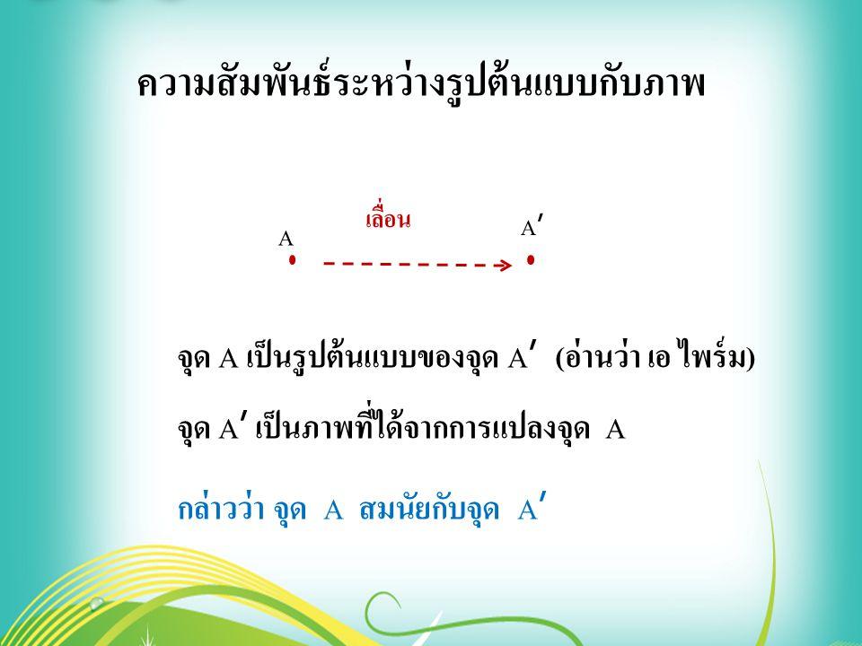 A A'A' เลื่อน ความสัมพันธ์ระหว่างรูปต้นแบบกับภาพ จุด A เป็นรูปต้นแบบของจุด A ' ( อ่านว่า เอ ไพร์ม ) จุด A ' เป็นภาพที่ได้จากการแปลงจุด A กล่าวว่า จุด A สมนัยกับจุด A '