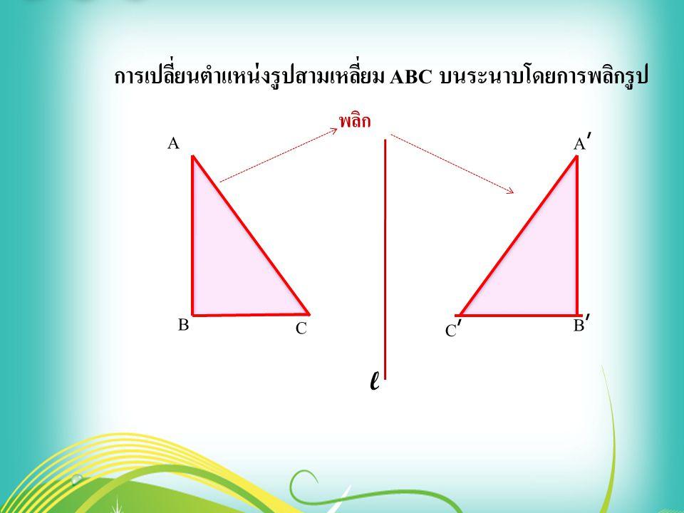 A B A'A' B'B' C'C' C การเปลี่ยนตำแหน่งรูปสามเหลี่ยม ABC บนระนาบโดยการพลิกรูป l พลิก