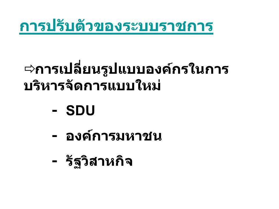  การเปลี่ยนรูปแบบองค์กรในการ บริหารจัดการแบบใหม่ - SDU - องค์การมหาชน - รัฐวิสาหกิจ การปรับตัวของระบบราชการ