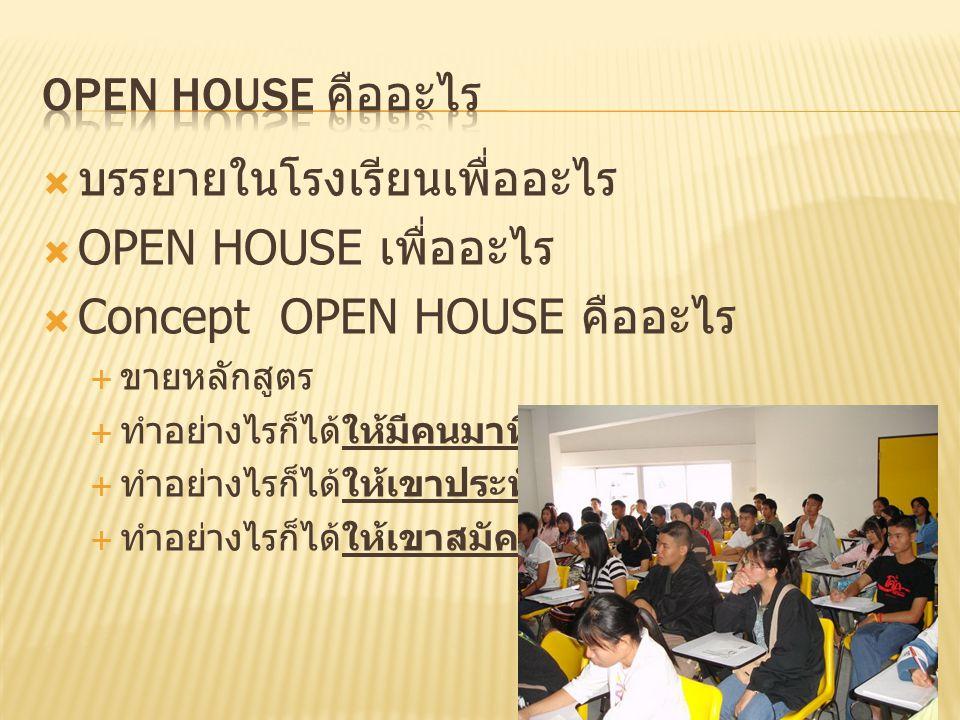  บรรยายในโรงเรียนเพื่ออะไร  OPEN HOUSE เพื่ออะไร  Concept OPEN HOUSE คืออะไร  ขายหลักสูตร  ทำอย่างไรก็ได้ให้มีคนมาที่สาขา  ทำอย่างไรก็ได้ให้เขาป