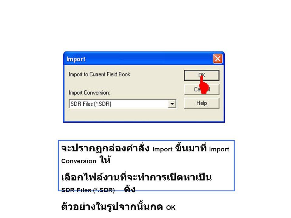 จะปรากฏกล่องคำสั่ง Import ขึ้นมาที่ Import Conversion ให้ เลือกไฟล์งานที่จะทำการเปิดหาเป็น SDR Files (*.SDR) ดัง ตัวอย่างในรูปจากนั้นกด OK 