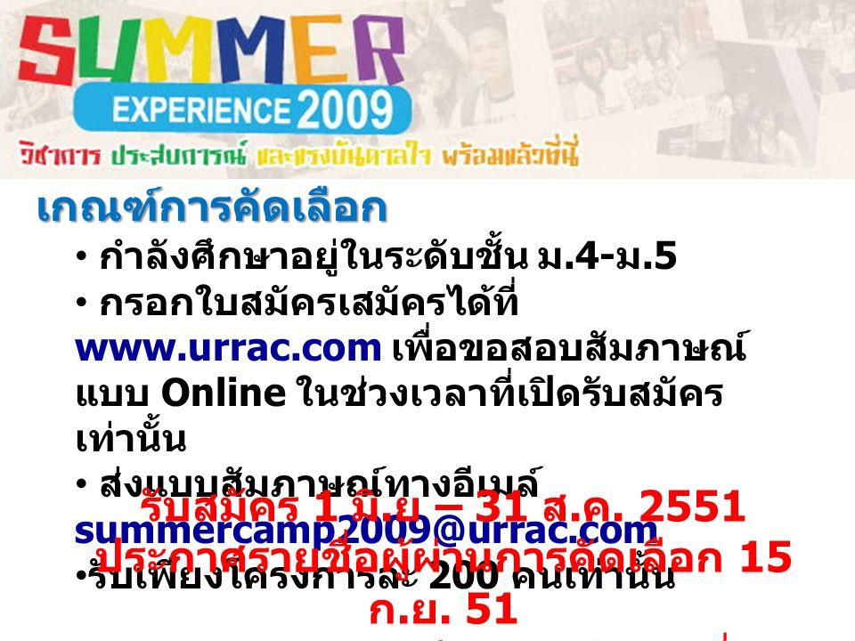 เกณฑ์การคัดเลือก กำลังศึกษาอยู่ในระดับชั้น ม.4- ม.5 กรอกใบสมัครเสมัครได้ที่ www.urrac.com เพื่อขอสอบสัมภาษณ์ แบบ Online ในช่วงเวลาที่เปิดรับสมัคร เท่านั้น ส่งแบบสัมภาษณ์ทางอีเมล์ summercamp2009@urrac.com รับเพียงโครงการละ 200 คนเท่านั้น รับสมัคร 1 มิ.
