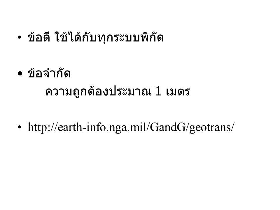 ข้อดี ใช้ได้กับทุกระบบพิกัด ข้อจำกัด ความถูกต้องประมาณ 1 เมตร http://earth-info.nga.mil/GandG/geotrans/