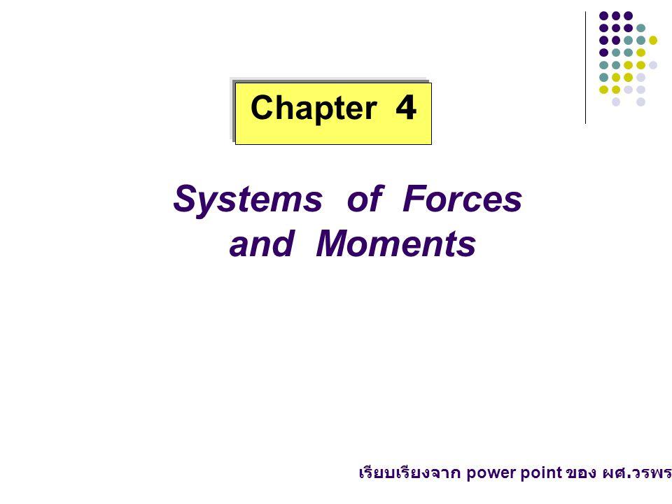 - about point ( รอบจุด ) - about line ( รอบแนว, รอบ แกน, รอบเส้น ) 4.2.1 Moment Vector about Point ( เวกเตอร์โมเมนต์รอบจุด ) O (x,y,z) F O F r M o = r x F r : position vector F : force vector Mo : moment vector about o : ทิศทางต้องตั้งฉากกับทั้ง r และ F