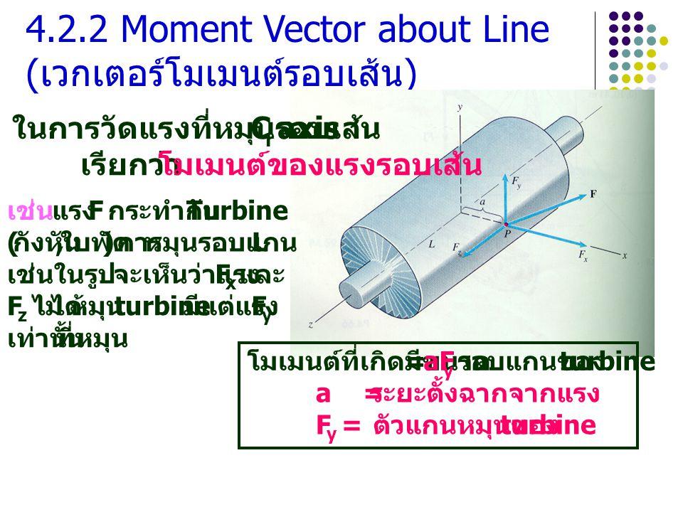 4.2.2 Moment Vector about Line ( เวกเตอร์โมเมนต์รอบเส้น ) ในการวัดแรงที่หมุนรอบเส้น C r axis เรียกว่า โมเมนต์ของแรงรอบเส้น เช่น แรง F กระทำกับ Turbine