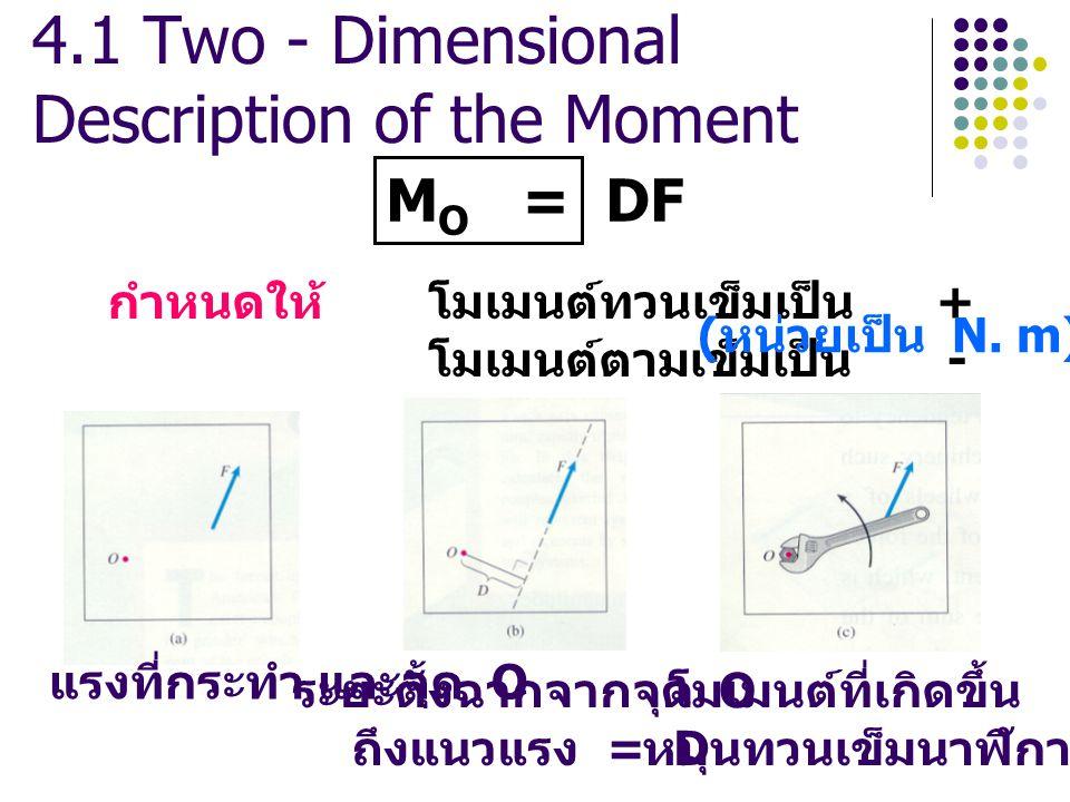 4.1 Two - Dimensional Description of the Moment แรงที่กระทำ และจุด O ระยะตั้งฉากจากจุด O ถึงแนวแรง = D โมเมนต์ที่เกิดขึ้น หมุนทวนเข็มนาฬิกา M O = DF กำหนดให้ โมเมนต์ทวนเข็มเป็น + โมเมนต์ตามเข็มเป็น - ( หน่วยเป็น N.