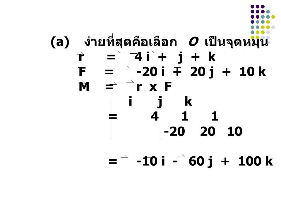 (a) ง่ายที่สุดคือเลือก O เป็นจุดหมุน r = 4 i + j + k F = -20 i + 20 j + 10 k M = r x F i j k = 4 1 1 -20 20 10 = -10 i - 60 j + 100 k