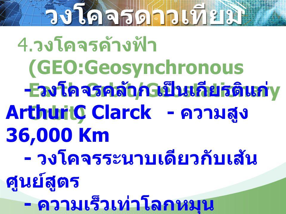 วงโคจรดาวเทียม 4. วงโคจรค้างฟ้า (GEO:Geosynchronous Earth Orbit/Geostationary Orbit) - วงโคจรคล้าก เป็นเกียรติแก่ Arthur C Clarck- ความสูง 36,000 Km -