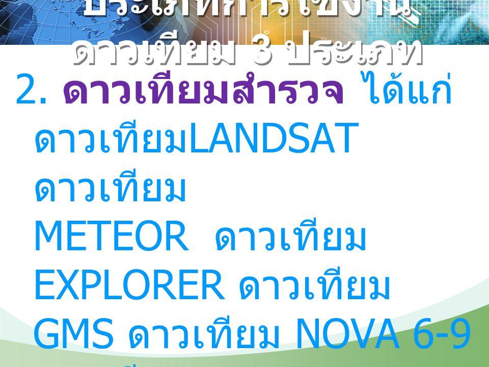 ประเภทการใช้งาน ดาวเทียม 3 ประเภท 2. ดาวเทียมสำรวจ ได้แก่ ดาวเทียม LANDSAT ดาวเทียม METEOR ดาวเทียม EXPLORER ดาวเทียม GMS ดาวเทียม NOVA 6-9 ดาวเทียม N
