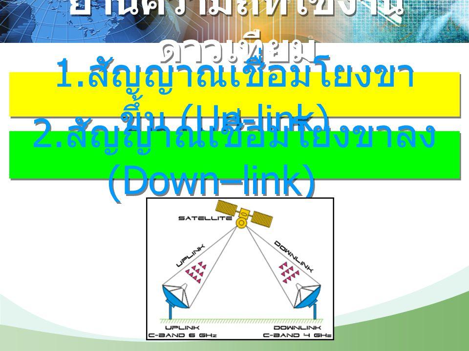 ย่านความถี่ที่ใช้งาน ดาวเทียม 1. สัญญาณเชื่อมโยงขา ขึ้น (Up-link) 2. สัญญาณเชื่อมโยงขาลง (Down–link)