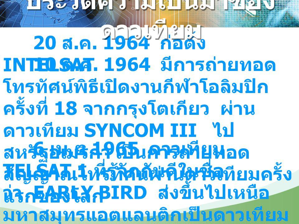20 ส. ค. 1964 ก่อตั้ง INTELSAT 10 ต. ค. 1964 มีการถ่ายทอด โทรทัศน์พิธีเปิดงานกีฬาโอลิมปิก ครั้งที่ 18 จากกรุงโตเกียว ผ่าน ดาวเทียม SYNCOM III ไป สหรัฐ