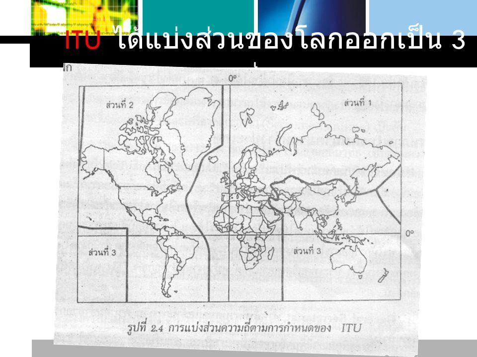 L o g o www.themegallery.com General Broadcasting Amateur Radio Navigational Beacons Commercial Transportation Communication ITU แบ่งจำพวกของงานที่จะต้องมี การกำหนดย่านความถี่ของคลื่นใน การใช้งาน