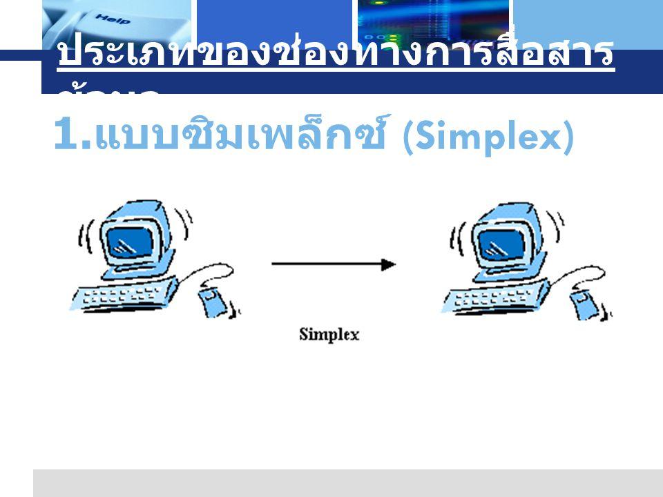 L o g o Company Logo www.themegallery.com ประเภทของช่องทางการสื่อสาร ข้อมูล 1. แบบซิมเพล็กซ์ (Simplex)