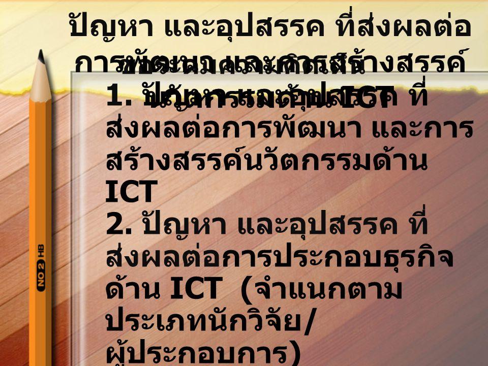 ขอระดมความคิดเห็น 1. ปัญหา และอุปสรรค ที่ ส่งผลต่อการพัฒนา และการ สร้างสรรค์นวัตกรรมด้าน ICT 2. ปัญหา และอุปสรรค ที่ ส่งผลต่อการประกอบธุรกิจ ด้าน ICT