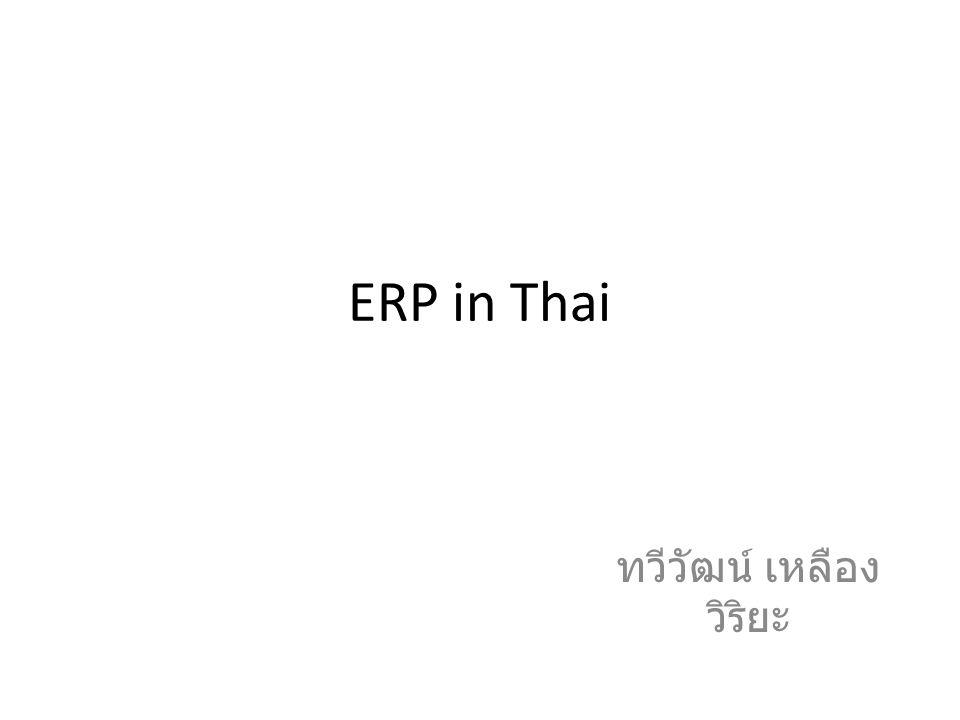 ERP in Thai ทวีวัฒน์ เหลือง วิริยะ