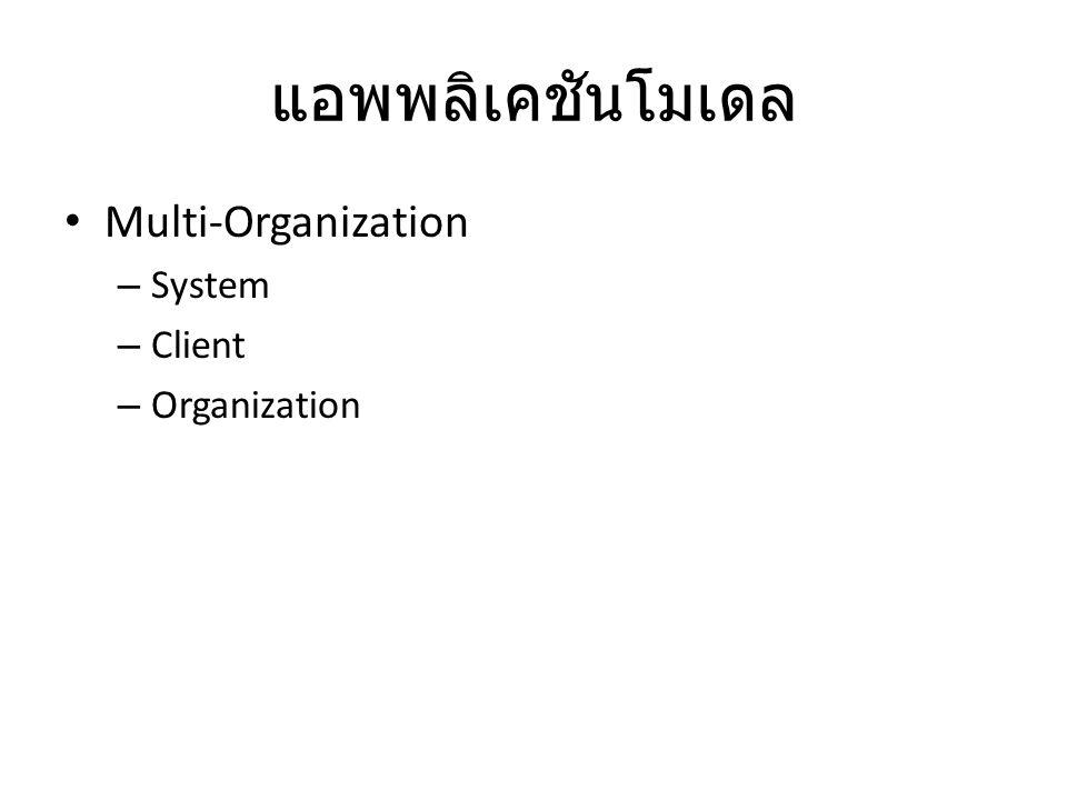 แอพพลิเคชันโมเดล Multi-Organization – System – Client – Organization