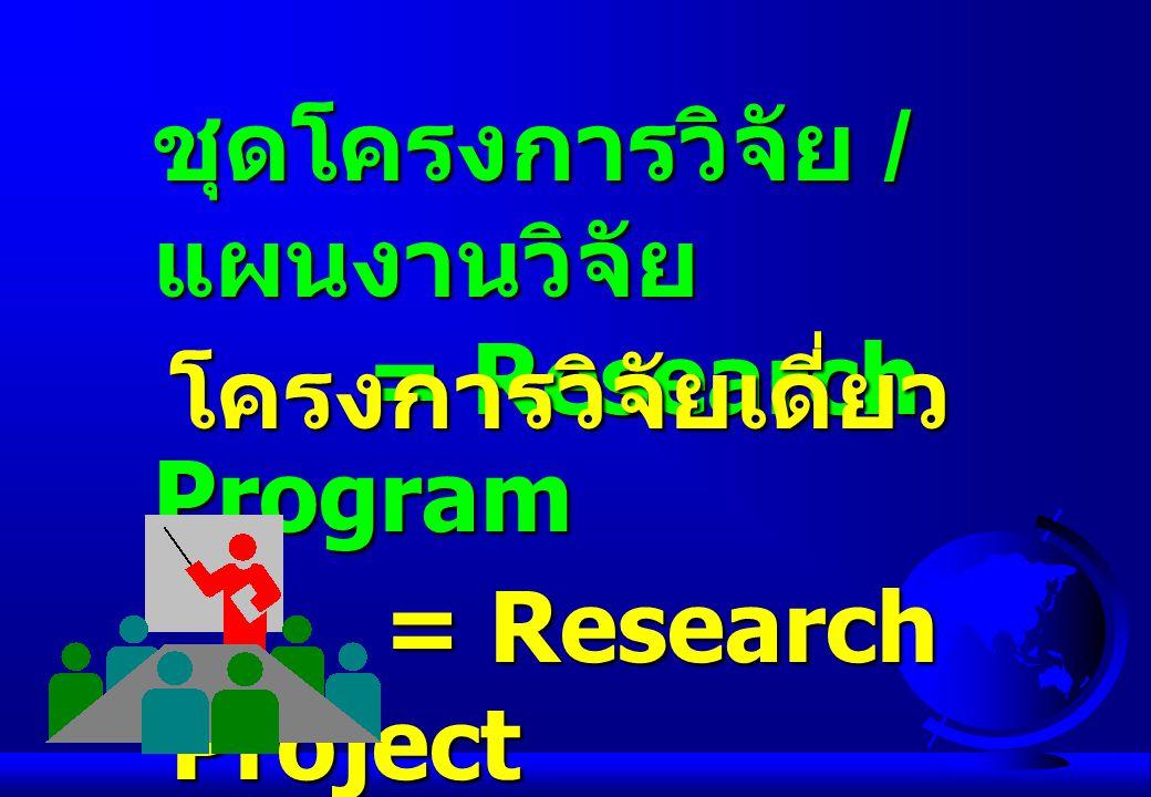 ชุดโครงการวิจัย / แผนงานวิจัย =Research Program โครงการวิจัยเดี่ยว =Research Project