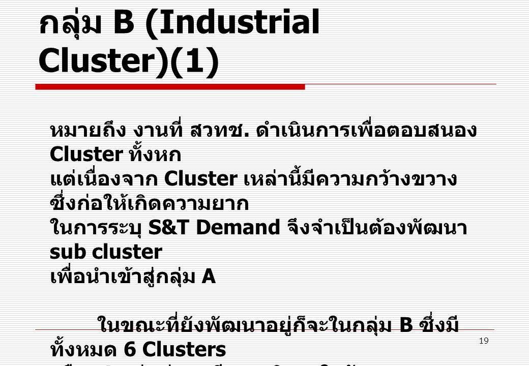 19 กลุ่ม B (Industrial Cluster)(1) หมายถึง งานที่ สวทช. ดำเนินการเพื่อตอบสนอง Cluster ทั้งหก แต่เนื่องจาก Cluster เหล่านี้มีความกว้างขวาง ซึ่งก่อให้เก