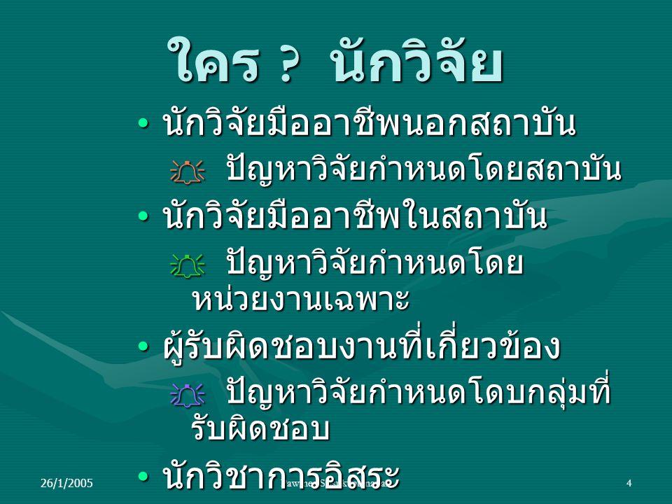 26/1/2005Pawinee Srisukvatananan4 ใคร ? นักวิจัย นักวิจัยมืออาชีพนอกสถาบัน นักวิจัยมืออาชีพนอกสถาบัน  ปัญหาวิจัยกำหนดโดยสถาบัน นักวิจัยมืออาชีพในสถาบ