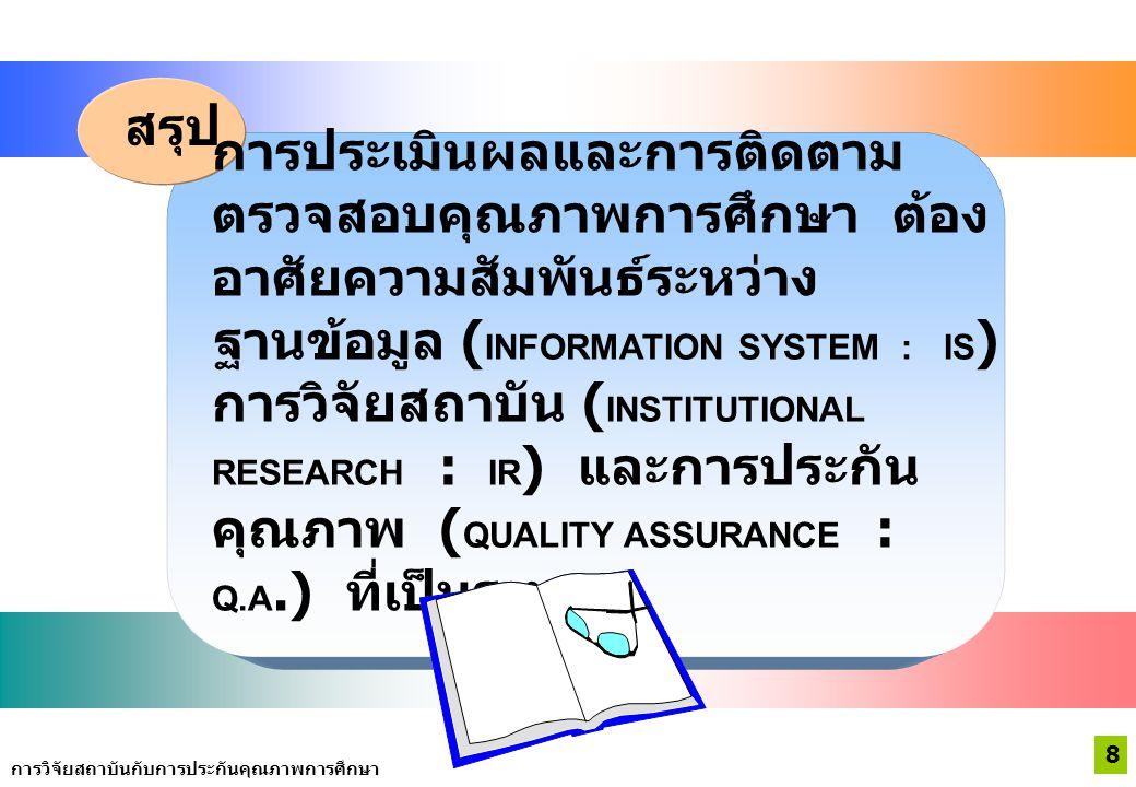 การประเมินผลและการติดตาม ตรวจสอบคุณภาพการศึกษา ต้อง อาศัยความสัมพันธ์ระหว่าง ฐานข้อมูล ( INFORMATION SYSTEM : IS ) การวิจัยสถาบัน ( INSTITUTIONAL RESEARCH : IR ) และการประกัน คุณภาพ ( QUALITY ASSURANCE : Q.A.) ที่เป็นระบบ สรุป 8 การวิจัยสถาบันกับการประกันคุณภาพการศึกษา