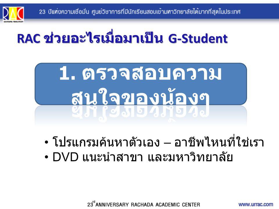 RAC ช่วยอะไรเมื่อมาเป็น G-Student โปรแกรมค้นหาตัวเอง – อาชีพไหนที่ใช่เรา DVD แนะนำสาขา และมหาวิทยาลัย