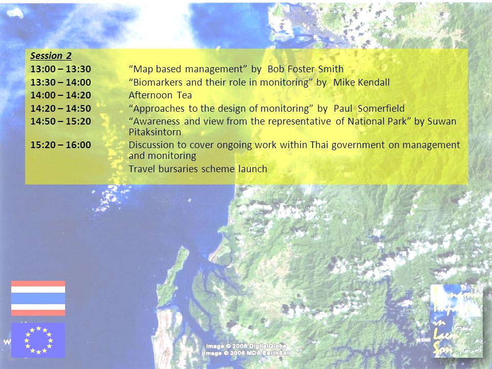 "Session 2 13:00 – 13:30""Map based management"" by Bob Foster Smith 13:30 – 14:00""Biomarkers and their role in monitoring"" by Mike Kendall 14:00 – 14:20"