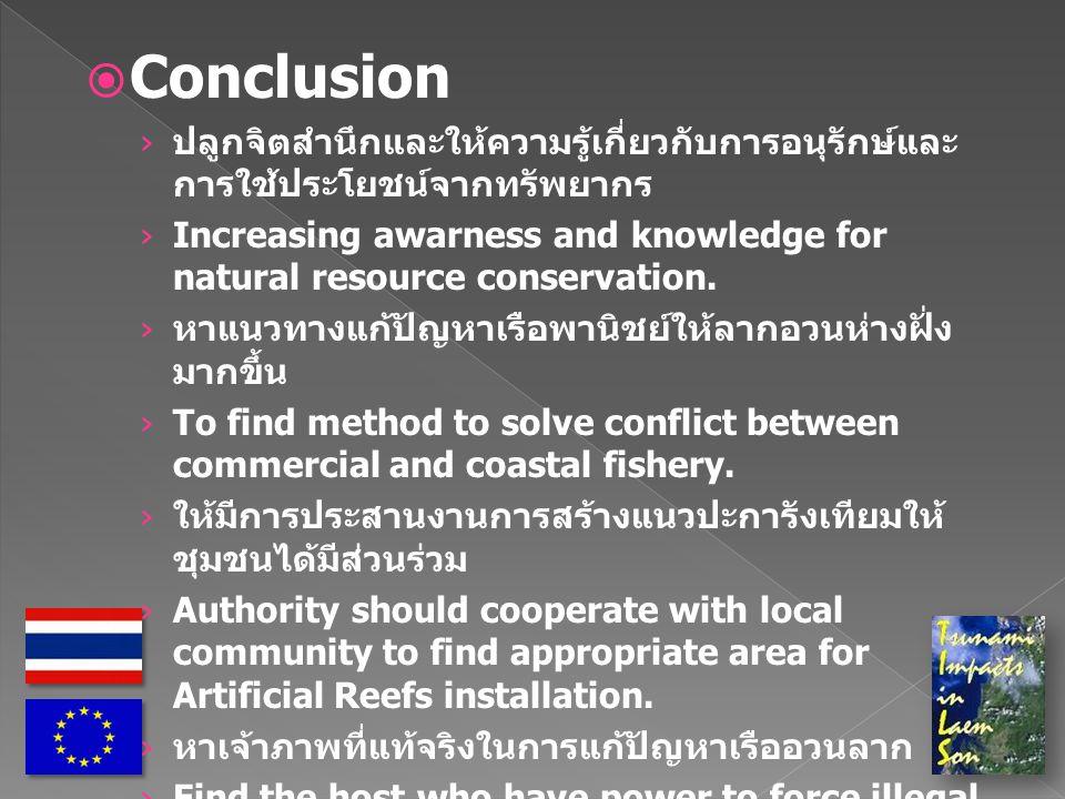  Conclusion › ปลูกจิตสำนึกและให้ความรู้เกี่ยวกับการอนุรักษ์และ การใช้ประโยชน์จากทรัพยากร › Increasing awarness and knowledge for natural resource conservation.