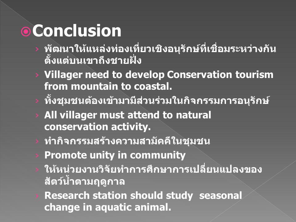  Conclusion › พัฒนาให้แหล่งท่องเที่ยวเชิงอนุรักษ์ที่เชื่อมระหว่างกัน ตั้งแต่บนเขาถึงชายฝั่ง › Villager need to develop Conservation tourism from mountain to coastal.