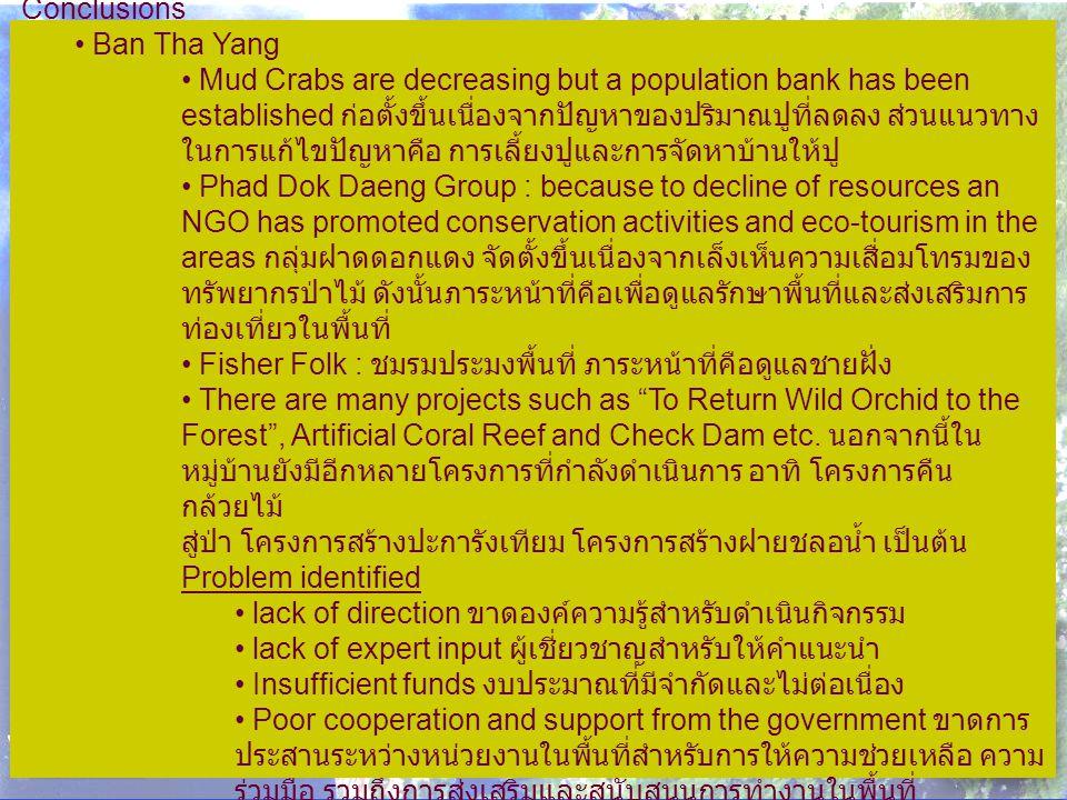 Conclusions Ban Tha Yang Mud Crabs are decreasing but a population bank has been established ก่อตั้งขึ้นเนื่องจากปัญหาของปริมาณปูที่ลดลง ส่วนแนวทาง ในการแก้ไขปัญหาคือ การเลี้ยงปูและการจัดหาบ้านให้ปู Phad Dok Daeng Group : because to decline of resources an NGO has promoted conservation activities and eco-tourism in the areas กลุ่มฝาดดอกแดง จัดตั้งขึ้นเนื่องจากเล็งเห็นความเสื่อมโทรมของ ทรัพยากรป่าไม้ ดังนั้นภาระหน้าที่คือเพื่อดูแลรักษาพื้นที่และส่งเสริมการ ท่องเที่ยวในพื้นที่ Fisher Folk : ชมรมประมงพื้นที่ ภาระหน้าที่คือดูแลชายฝั่ง There are many projects such as To Return Wild Orchid to the Forest , Artificial Coral Reef and Check Dam etc.