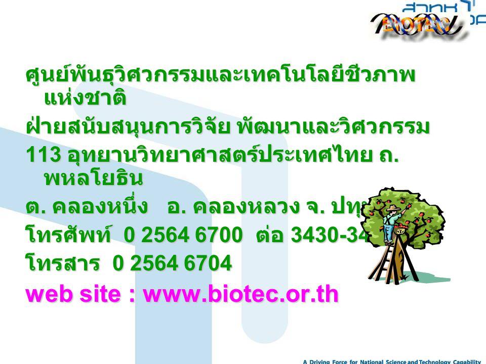 ศูนย์พันธุวิศวกรรมและเทคโนโลยีชีวภาพ แห่งชาติ ฝ่ายสนับสนุนการวิจัย พัฒนาและวิศวกรรม 113 อุทยานวิทยาศาสตร์ประเทศไทย ถ. พหลโยธิน ต. คลองหนึ่ง อ. คลองหลว
