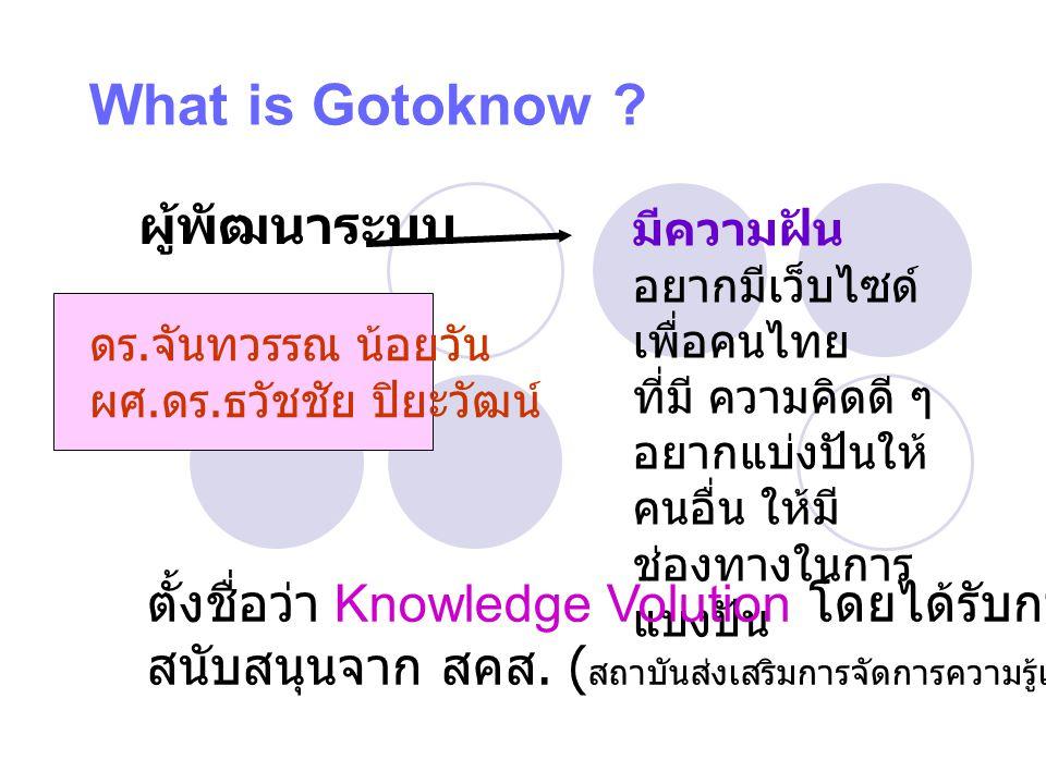 What is Gotoknow ? ดร. จันทวรรณ น้อยวัน ผศ. ดร. ธวัชชัย ปิยะวัฒน์ ผู้พัฒนาระบบ มีความฝัน อยากมีเว็บไซด์ เพื่อคนไทย ที่มี ความคิดดี ๆ อยากแบ่งปันให้ คน