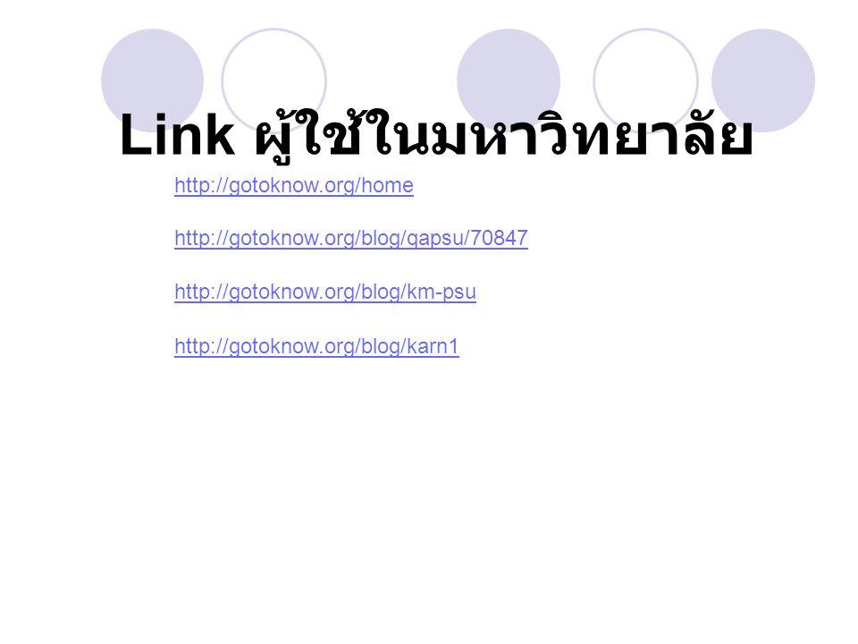 http://gotoknow.org/home http://gotoknow.org/blog/qapsu/70847 http://gotoknow.org/blog/km-psu http://gotoknow.org/blog/karn1 Link ผู้ใช้ในมหาวิทยาลัย