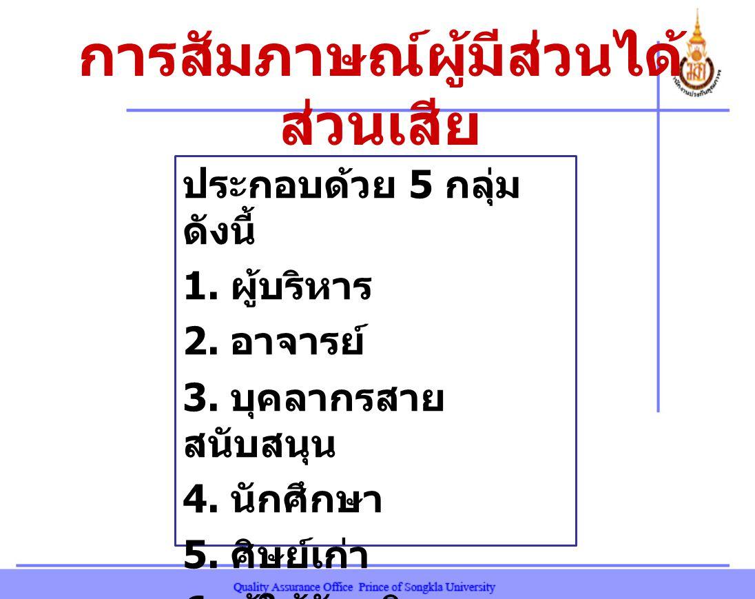 การสัมภาษณ์ผู้มีส่วนได้ ส่วนเสีย ประกอบด้วย 5 กลุ่ม ดังนี้ 1.