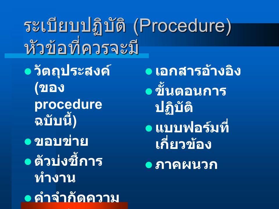 ระเบียบปฏิบัติ (Procedure) หัวข้อที่ควรจะมี วัตถุประสงค์ ( ของ procedure ฉบับนี้ ) ขอบข่าย ตัวบ่งชี้การ ทำงาน คำจำกัดความ หน้าที่ รับผิดชอบ เอกสารอ้าง