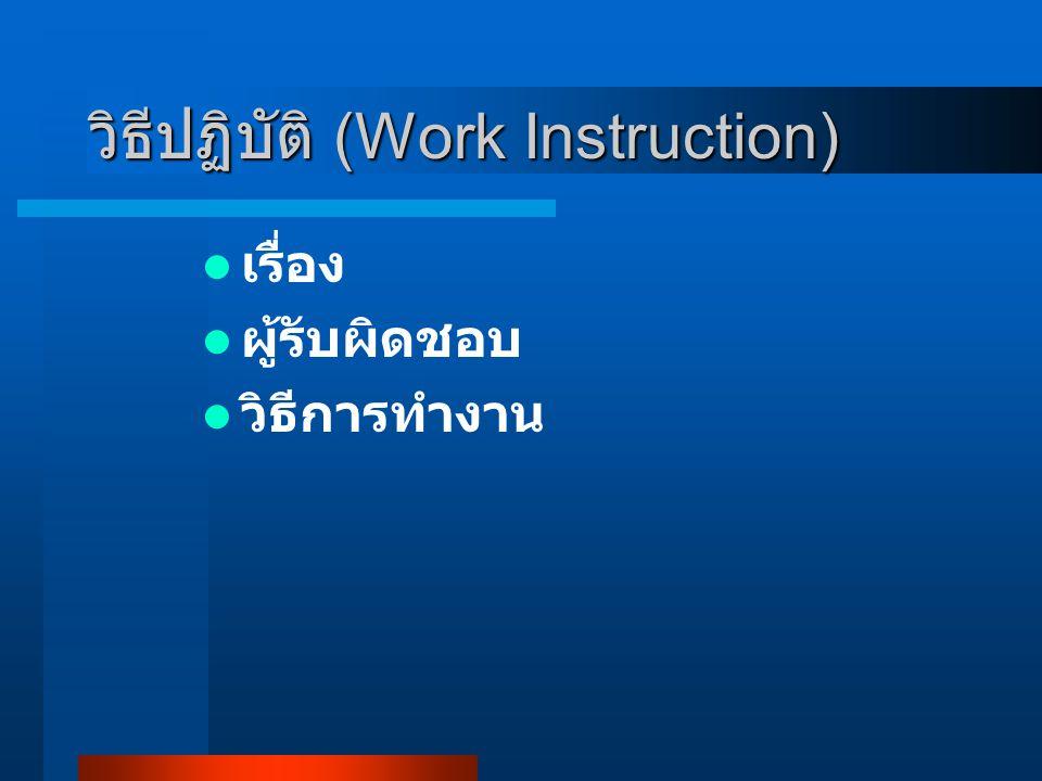 วิธีปฏิบัติ (Work Instruction) เรื่อง ผู้รับผิดชอบ วิธีการทำงาน