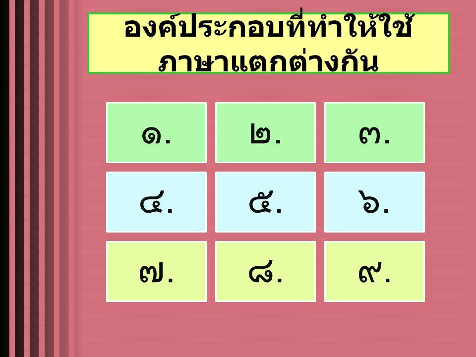 องค์ประกอบที่ทำให้ใช้ ภาษาแตกต่างกัน ๑.๑. ๒.๒. ๓.๓. ๔.๔. ๕.๕. ๖.๖. ๗.๗. ๘.๘. ๙.๙.