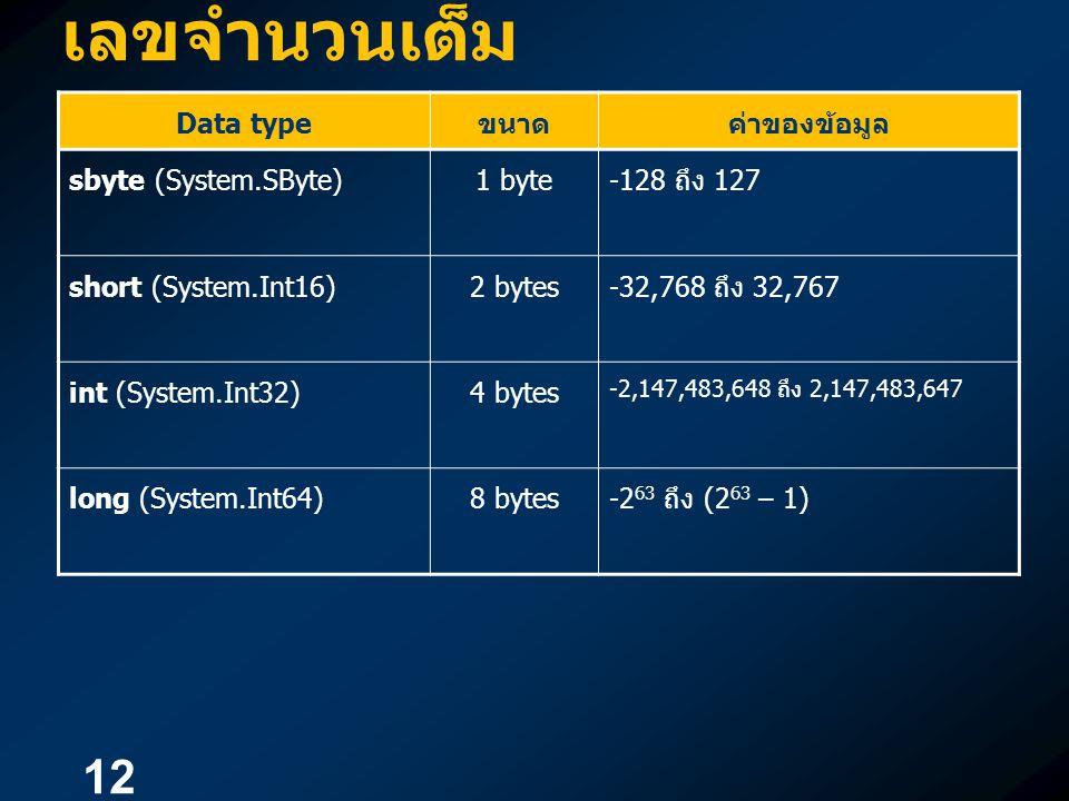 12 เลขจำนวนเต็ม Data type ขนาดค่าของข้อมูล sbyte (System.SByte)1 byte-128 ถึง 127 short (System.Int16)2 bytes-32,768 ถึง 32,767 int (System.Int32)4 by