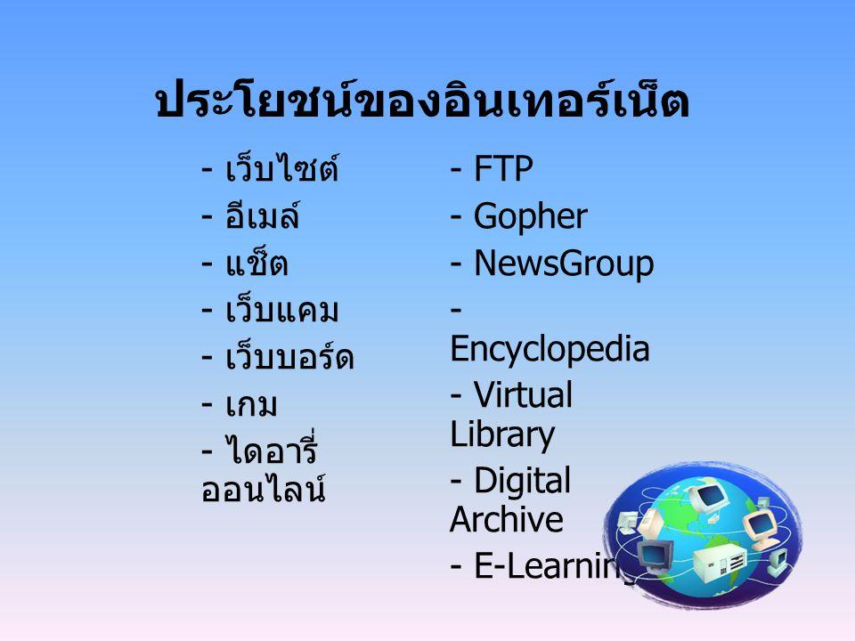 - เว็บไซต์ - อีเมล์ - แช็ต - เว็บแคม - เว็บบอร์ด - เกม - ไดอารี่ ออนไลน์ - FTP - Gopher - NewsGroup - Encyclopedia - Virtual Library - Digital Archive - E-Learning ประโยชน์ของอินเทอร์เน็ต
