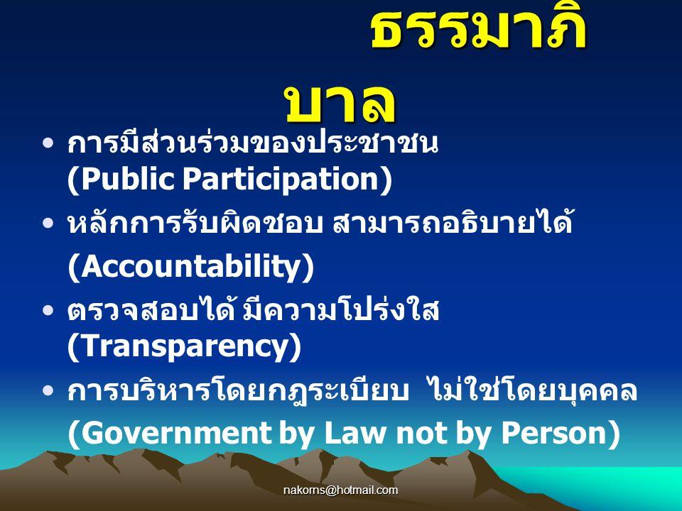 nakorns@hotmail.com ธรรมาภิ บาล ธรรมาภิ บาล การมีส่วนร่วมของประชาชน (Public Participation) หลักการรับผิดชอบ สามารถอธิบายได้ (Accountability) ตรวจสอบได