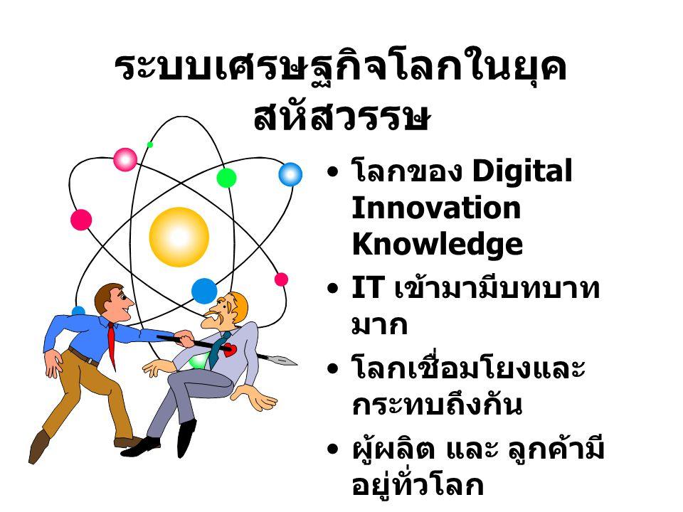 ระบบเศรษฐกิจโลกในยุค สหัสวรรษ โลกของ Digital Innovation Knowledge IT เข้ามามีบทบาท มาก โลกเชื่อมโยงและ กระทบถึงกัน ผู้ผลิต และ ลูกค้ามี อยู่ทั่วโลก กา