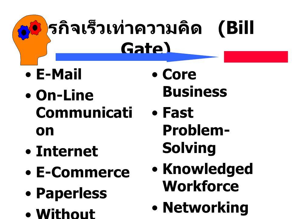 ธุรกิจเร็วเท่าความคิด (Bill Gate) E-Mail On-Line Communicati on Internet E-Commerce Paperless Without Middle-man Core Business Fast Problem- Solving K